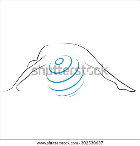 Pilates logo template - stock vector