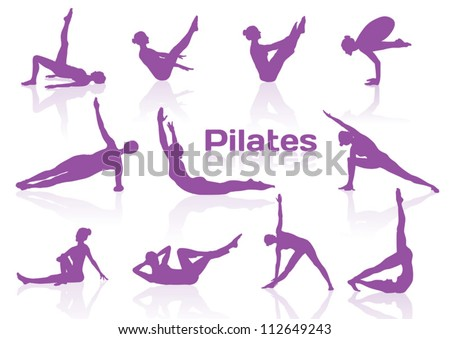 Pilates poses in violet silhouettes - stock vector