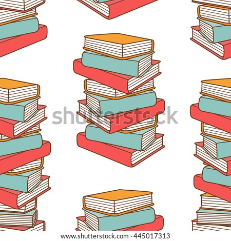 Pile of books hand drawn vector. Big collection of books, sketch objects. Doodle illustration library. Colorful seamless pattern - stock vector