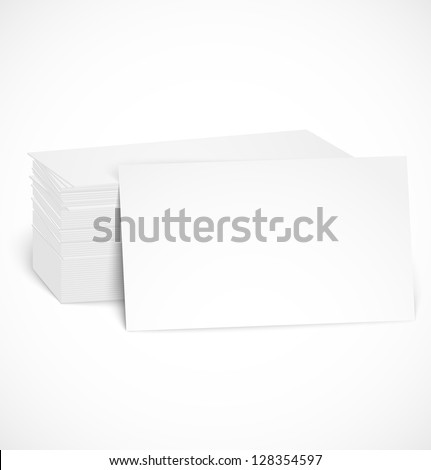 Pile of business cards with shadow template. Vector illustration - stock vector