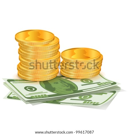 Pile of coins with dollars. Vector illustration - stock vector