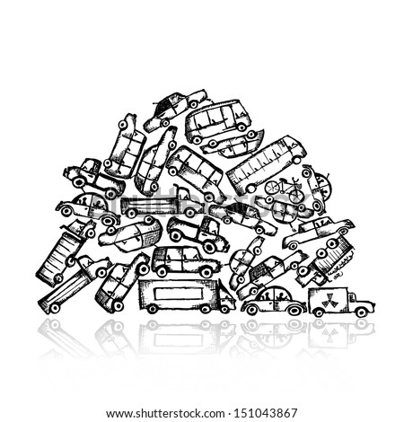 Pile of different cars - stock vector