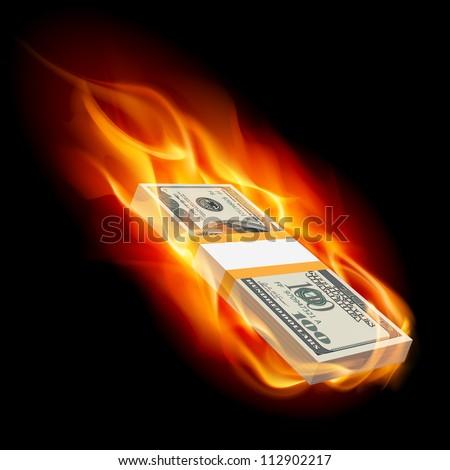 Pile of Dollars on Fire. Illustration on black - stock vector