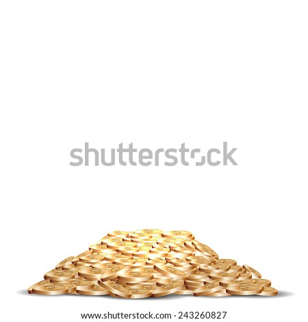 pile of five marked golden coins. - stock vector