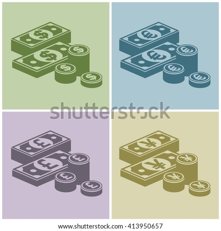 Pile of money stack. Icon for business,money sign, dollar cash, infographic element. Banknotes and coins. Vector illustration - stock vector