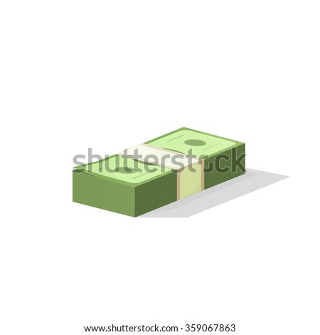Pile of money vector illustration, single flock of cash flat icon, American dollars, pack, packet, parcel, batch, package modern design isolated on white background - stock vector