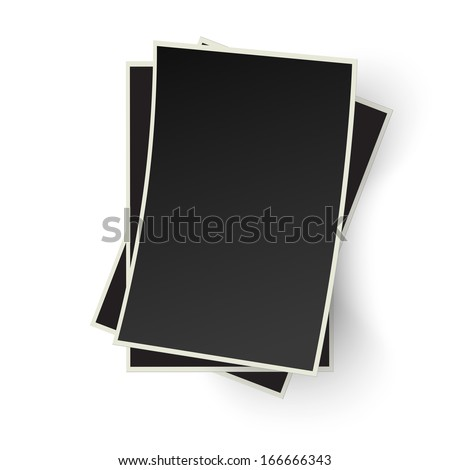 Pile of old photo frames isolated on white background - stock vector