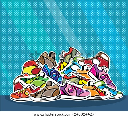 Pile of shoes vector pop art - stock vector