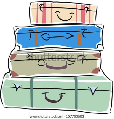 pile of the suitcases, one on one - stock vector