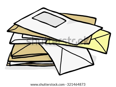 pile of used envelope / cartoon vector and illustration, hand drawn style, isolated on white background. - stock vector