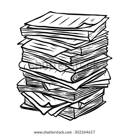 pile of used papers / cartoon vector and illustration, black and white, hand drawn, sketch style, isolated on white background. - stock vector