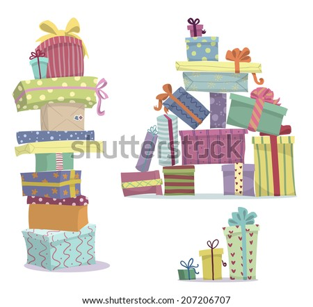 Piles of presents. Doodle heaps of gift boxes. Vector Illustration - stock vector