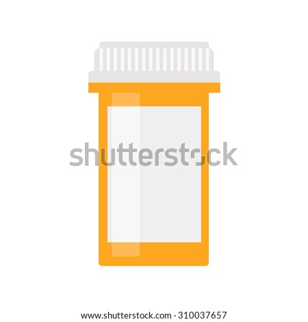 Pill bottle isolated icon on white background. Pill bottle for capsules. Medical container. Flat style vector illustration.  - stock vector