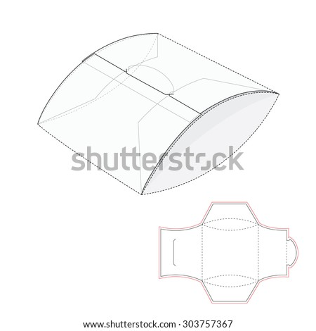 Pillow Package with Blueprint Template - stock vector