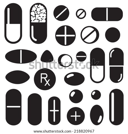 Pills and capsules icon - stock vector