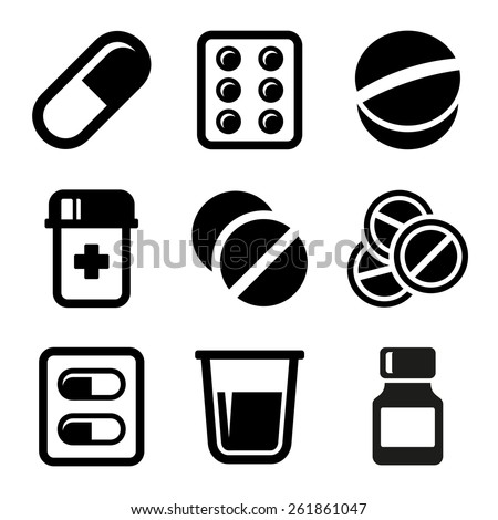 Pills and Capsules Icons Set - stock vector
