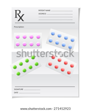 Pills and prescription - stock vector