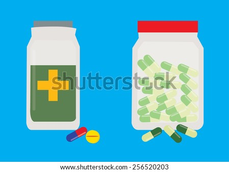 Pills and Tablet in a Bottle. Vector Illustration - stock vector