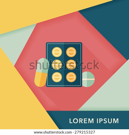 Pills flat icon with long shadow - stock vector