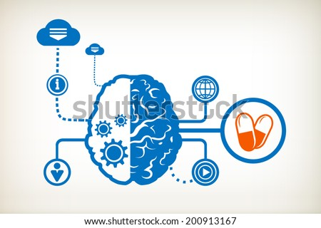 Pills health and abstract human brain, the concept of the information movement - stock vector