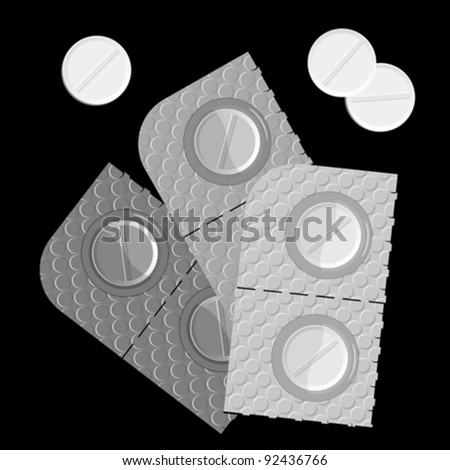pills in a blister pack and isolated against black background, abstract vector art illustration; image contains transparency - stock vector