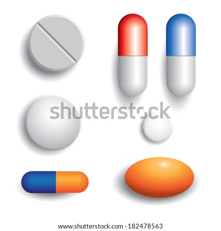 Pills isolated on white background. Vector illustration - stock vector