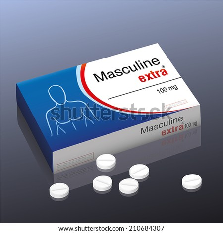 """Pills named """"Masculine extra"""" with a male upper body as brand logo on the cardboard packet of this medical fake product. Vector illustration. - stock vector"""
