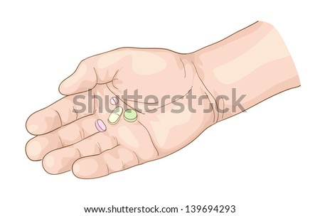 Pills on the palm. Vector illustration. - stock vector