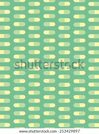 Pills pattern over green color background - stock vector