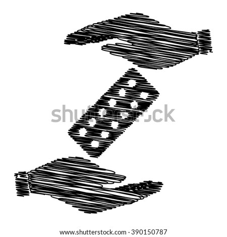 Pills sign. Save or protect symbol by hands with scribble effect. - stock vector