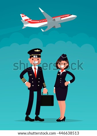 Pilot and a flight attendant on a background of an airplane taking off. Vector illustration of a flat design - stock vector
