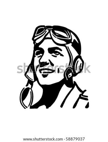Pilot With Aviator Helmet - Retro Clip Art - stock vector