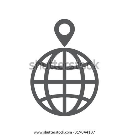 pin on globe icon - stock vector