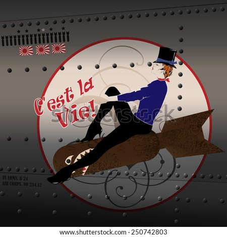 Pin-up girl drawn on a plane fuselage. American style. - stock vector