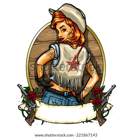 Pin Up Girl label with ribbon banner and guns, Sexy Cowgirl  - stock vector