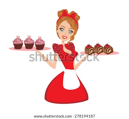 Pin Up housewife serving chocolate cupcakes - stock vector