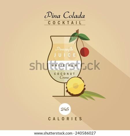pina colada cocktail recipe vector illustration in trendy retro hipster flat design style - stock vector