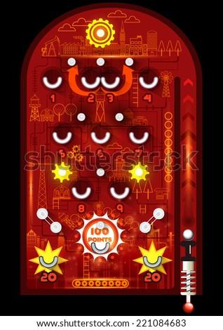 Pinball game, Building in pinball machine on black background, Vector illustrator - stock vector