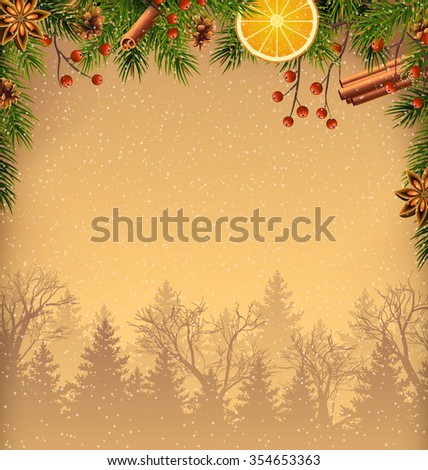 Pine Branches and Spices with Forest on Brown Background - stock vector