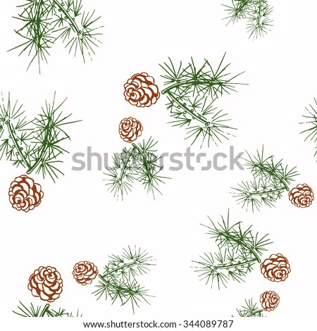Pine fir christmas tree cedar spruce and cones seamless pattern vector illustration - stock vector