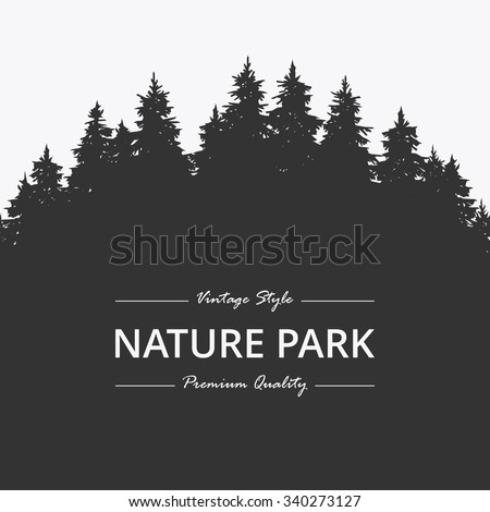 Pine forest. Nature park - stock vector