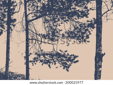 pine tree, birch and branches silhouette. detailed vector illustration  - stock vector