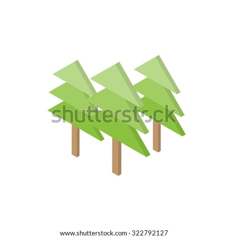 Pine tree icon, 3D style, vector illustration - stock vector