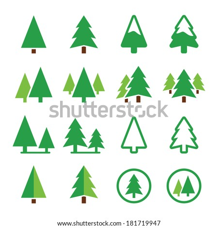 Pine tree, park vector green icons set  - stock vector