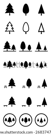 Pine tree vector icons set - stock vector