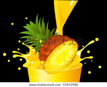 Pineapple falling in juice, vector illustration - stock vector