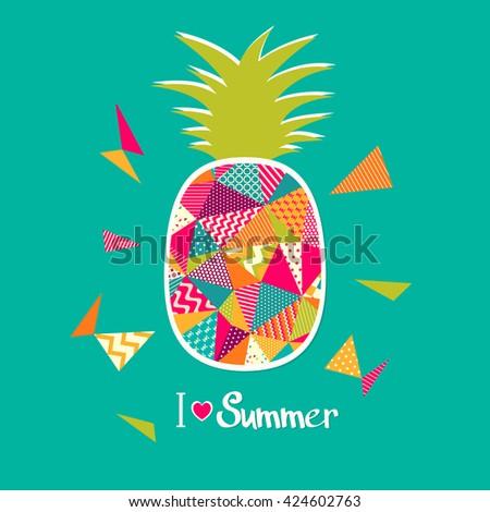 Pineapple vector illustration. I love summer - stock vector
