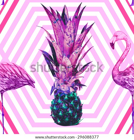 Pineapple, watercolor pink flamingos. Beautiful seamless vector floral tropical pattern background, wallpaper. Abstract stripped geometric texture - stock vector