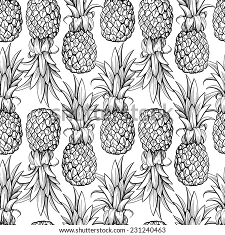 Pineapples seamless pattern - stock vector