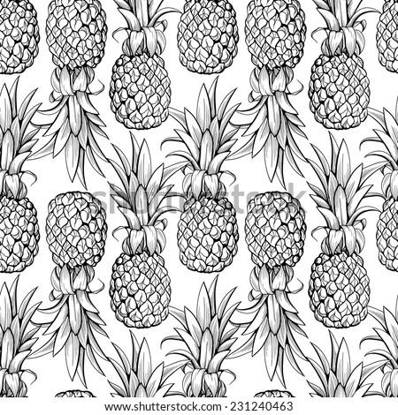 Pineapples seamless pattern - stock vector